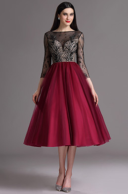 eDressit Burgundy Tea Length Cocktail Evening Dress with Embroidery (04162217)
