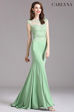 Carlyna Green Lace Beaded Mermaid Prom Dress (E62604)