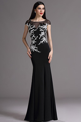 eDressit Black Cap Sleeves Formal Gown with Lace Appliques (02165400)