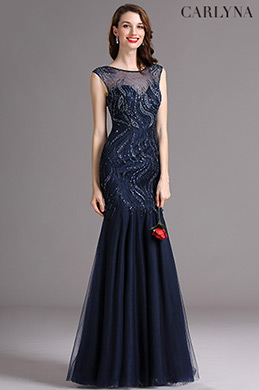 Carlyna Blue Sweetheart Beaded Sleeveless Formal Prom Dress (E60505)