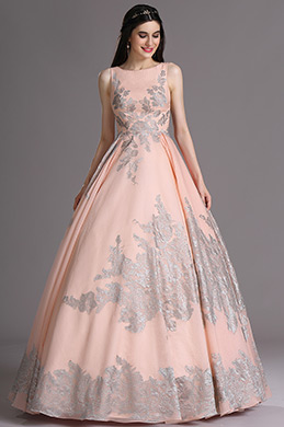 eDressit Pink Sleeveless Prom Dress with Lace Appliques (02165201)