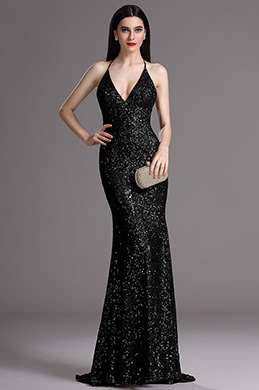 eDressit Plunging Neck Spaghetti Halter Black Sequins Formal Dress (00165400)