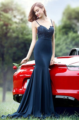 eDressit Spaghetti Straps Sweetheart Blue Lace Dress (00171805)