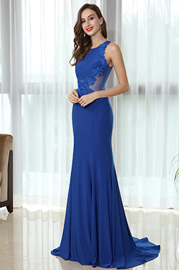 eDressit Blue Sleeveless Lace Appliques Prom Mermaid Gown (36170305)