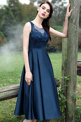 eDressit Wadelang Blau V Ausschnitt StickereiCocktailkleid (35170105)