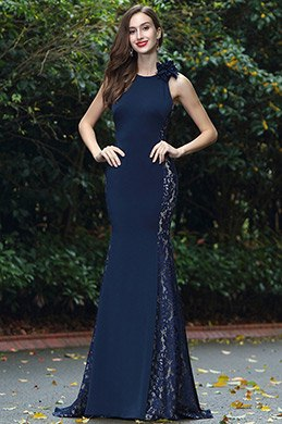 eDressit Blue Sleeveless Lace Long Prom Formal Dress (00170705)