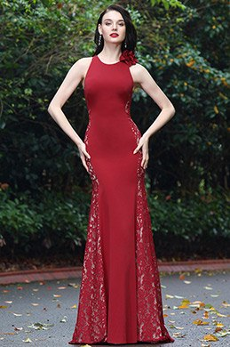 eDressit Burgundy Sleeveless Lace Prom Ball Gown (00170717)