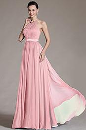 eDressit Rosa Neckholder Rückenfrei Abendkleid (07156801)