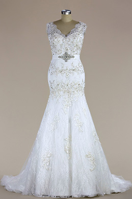 eDressit Sleeveless V Neck Beaded Mermaid Wedding Dress (H04006503)
