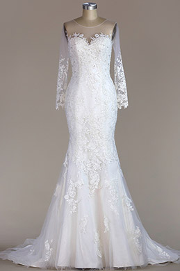 eDressit Long Sleeves Lace Mermaid Wedding Dress (F09060014)