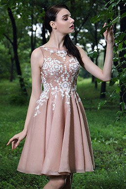eDressit Blush Party Cocktail Dress with Lace Appliques (04170246)