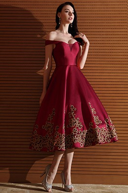 eDressit Designer Burgundy Off Shoulder Short Prom Dress (04170917)