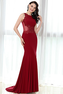 eDressit Burgundy Sleeveless Lace Appliques Prom Mermaid (36170317)