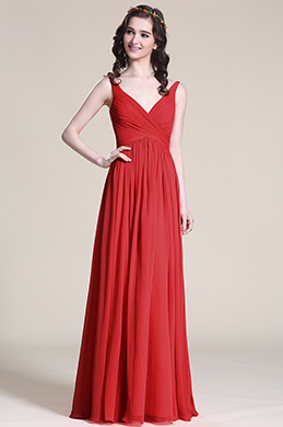 eDressit Elegant V-cut  Red Bridesmaid Dress (07151602)