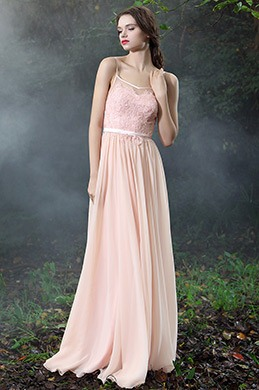 eDressit Pink Spaghetti Straps Lace Prom Evening Dress (00171401)