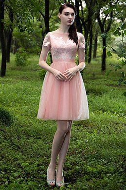 eDressit Pink V Neck Lace Appliques Designer Party Dress (04171101)