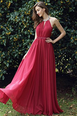 eDressit Burgundy Pleated Halter Formal Evening Dress (00170317)