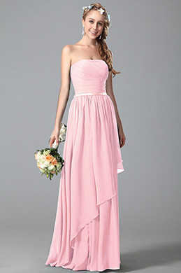 eDressit Strapless Pink Bridesmaid Dress With Asymmetric Hem (07156301)
