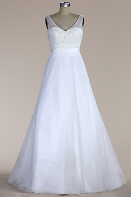eDressit Sleeveless A-line Tulle Wedding Dress (F04006526)