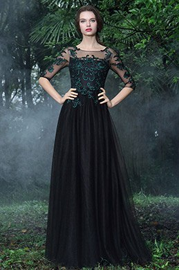 eDressit Black Formal Gowns with Green Lace Appliques (26171200)