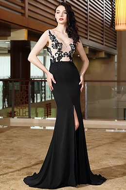 eDressit Lace Long Black Prom Dress with High Slit (00170500)