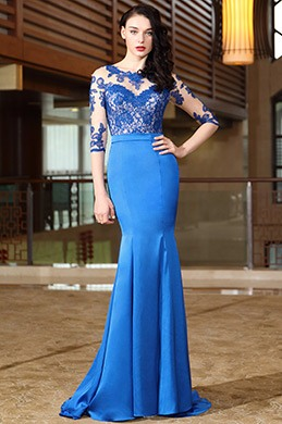 eDressit Blue Half Sleeves Lace Mother of the Bride Dress (26170605)