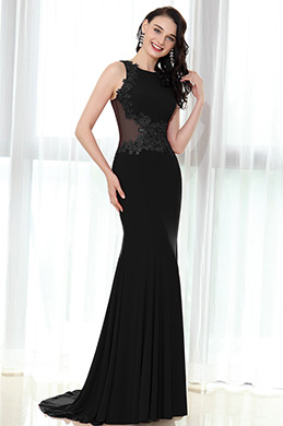 eDressit Black Sleeveless Lace Appliques Mermaid Dress (36170300)