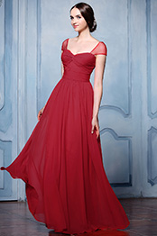 eDressit Cap Sleeves A-line Red Bridesmaid Dress (07154517)