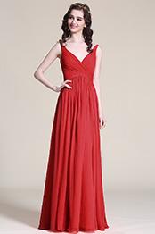eDressit Rot Chiffon V Ausschnitt Brautjungfernkleid (07151602)