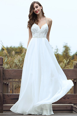 eDressit White Embroidery Spaghetti Straps Bridal Gown (01170507)