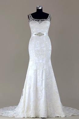 eDressit Sleeveless Beaded Lace Mermaid Wedding Dress (F02000100W)