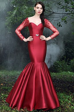 eDressit Vintage Red Pleated Mermaid Formal Gown (02170102)