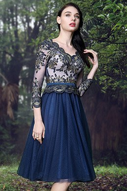 eDressit Blau V-Ausschnitt Spitze Cocktail Party Kleid(04171005)