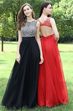 eDressit Black Beaded Chiffon Christmas Prom Dress (36170100)