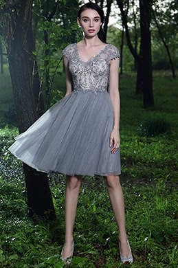 eDressit Grey Beaded Lace Cocktail Dress (04170708)