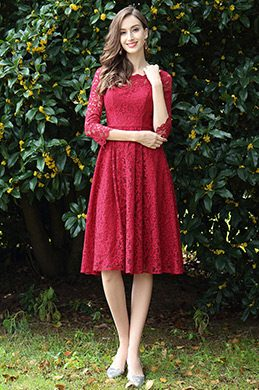 eDressit Long Sleeves Red Lace Cocktail Party Dress (26170217)