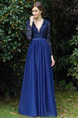 eDressit Langärmel Blau V Ausschnitt Spitze Kleid(00170905)