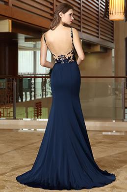 Blau Meerjungfrau Linie Abendkleid mit Spitze Applikation (02165805)