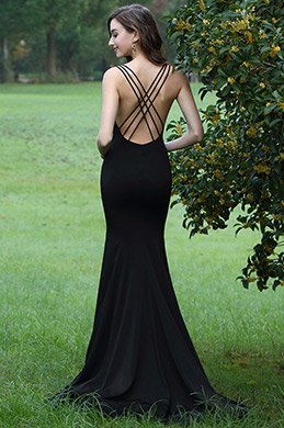 eDressit Black Lace Applique Prom Mermaid Dress (00170200)