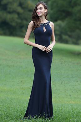 eDressit Ärmellos Blau Genäht Perlen Ausschnitt Ballkleid (00170805)