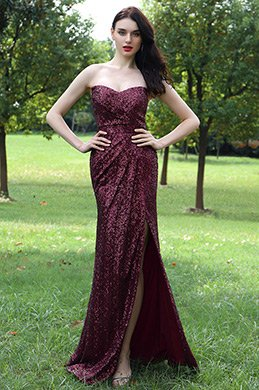 eDressit Burgundy Sweetheart Sequins Dress with High Slit Skirt (00171717)