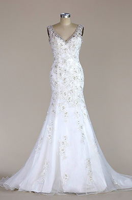 eDressit Sleeveless V Neck Lace Mermaid Wedding Dress(F02020219)