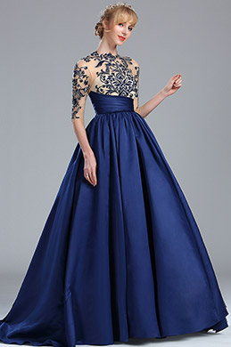 eDressit Blue Long Sleeves Embroidery Beaded Evening Gown (02170605)