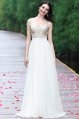 eDressit White Sleeveless Embroidered Wedding Dress (01170107)