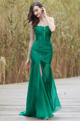 eDressit Sexy Green Strapless Floral Dress with High Slit (02170304)