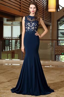 Blau Herz Ausschnitt Formell Kleid mit Spitze Applikation(02171705)