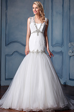 eDressit Sleeveless Beaded Mermaid Wedding Dress (F09613554)
