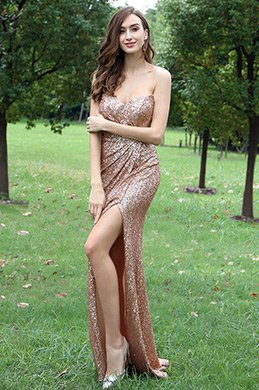 eDressit Elegant Light Golden Sweetheart Sequins Dress (00171724)