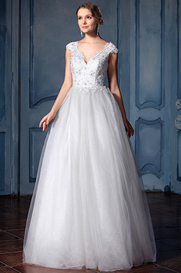 eDressit Cap Sleeves V Neckline Beaded Bridal Dress (F04006502)