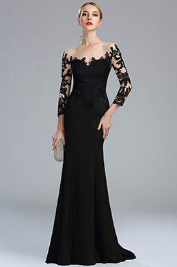 eDressit Black Long Sleeves Lace Evening Gown (02164100)